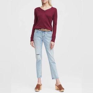 NWT Silk Cashmere Varsity V-Neck Sweater